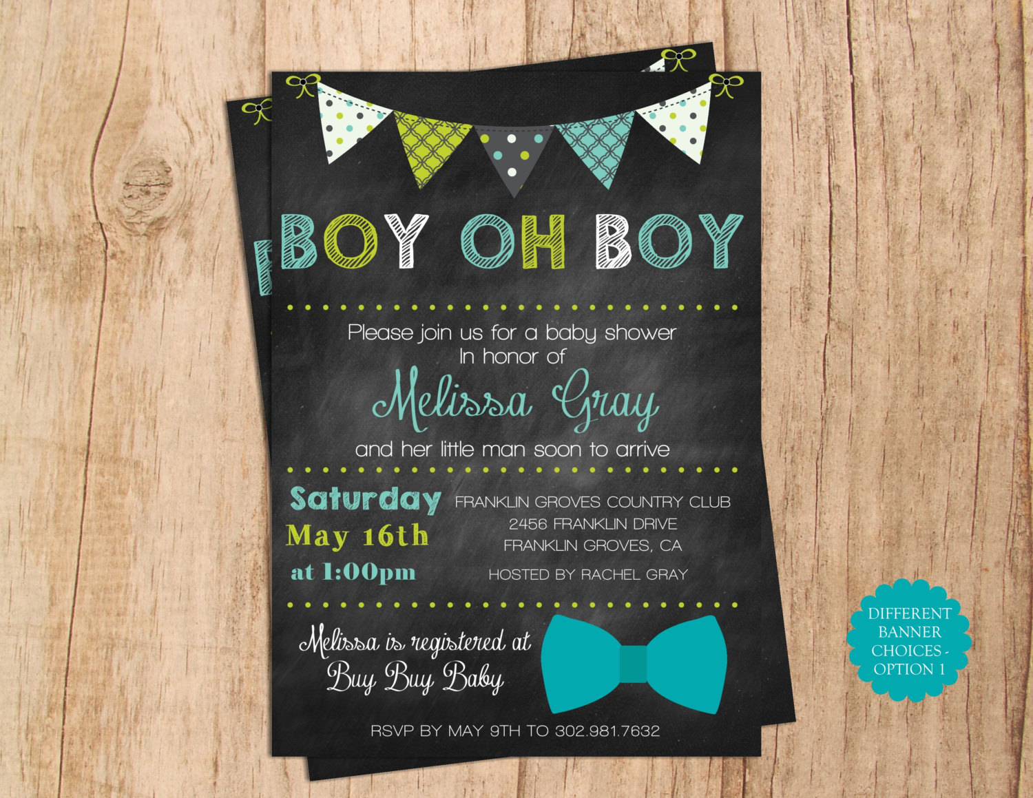 Boy Oh Boy Baby Shower Invitation