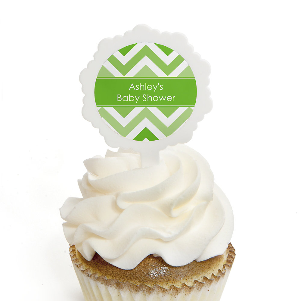 Chevron-Green-Baby-Shower-Cupcake-Picks