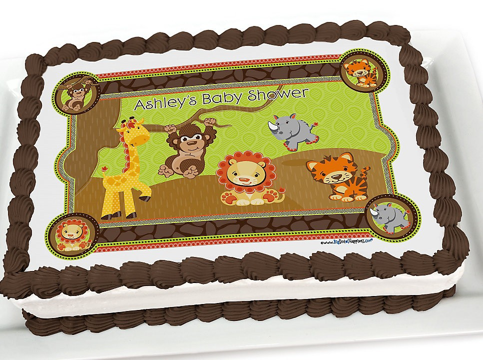 Attractive Safari Jungle Baby Shower Cake Toppers E1445723354292