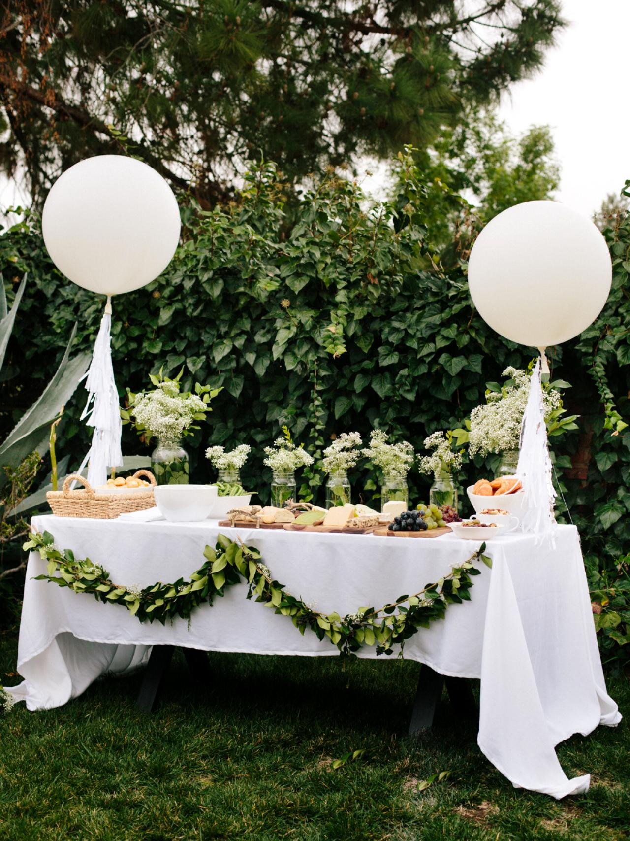 All white baby shower ideas baby ideas for How to decorate for a bridal shower at home