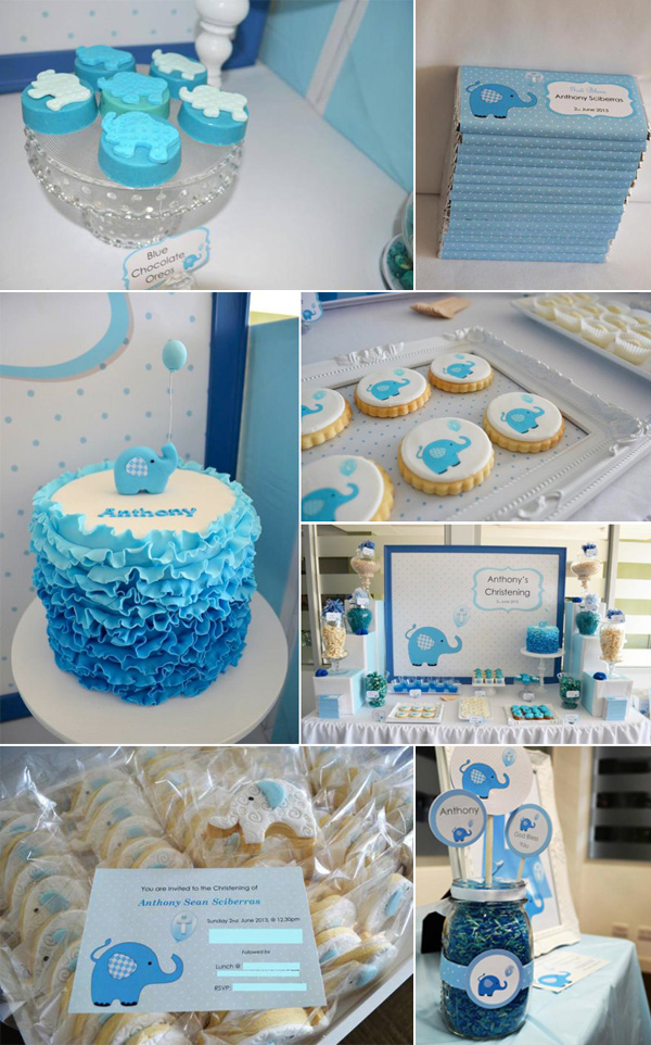 Baby Shower Ideas For A Baby Boy Part - 16: Blue-elephant-baby-boy-shower-ideas