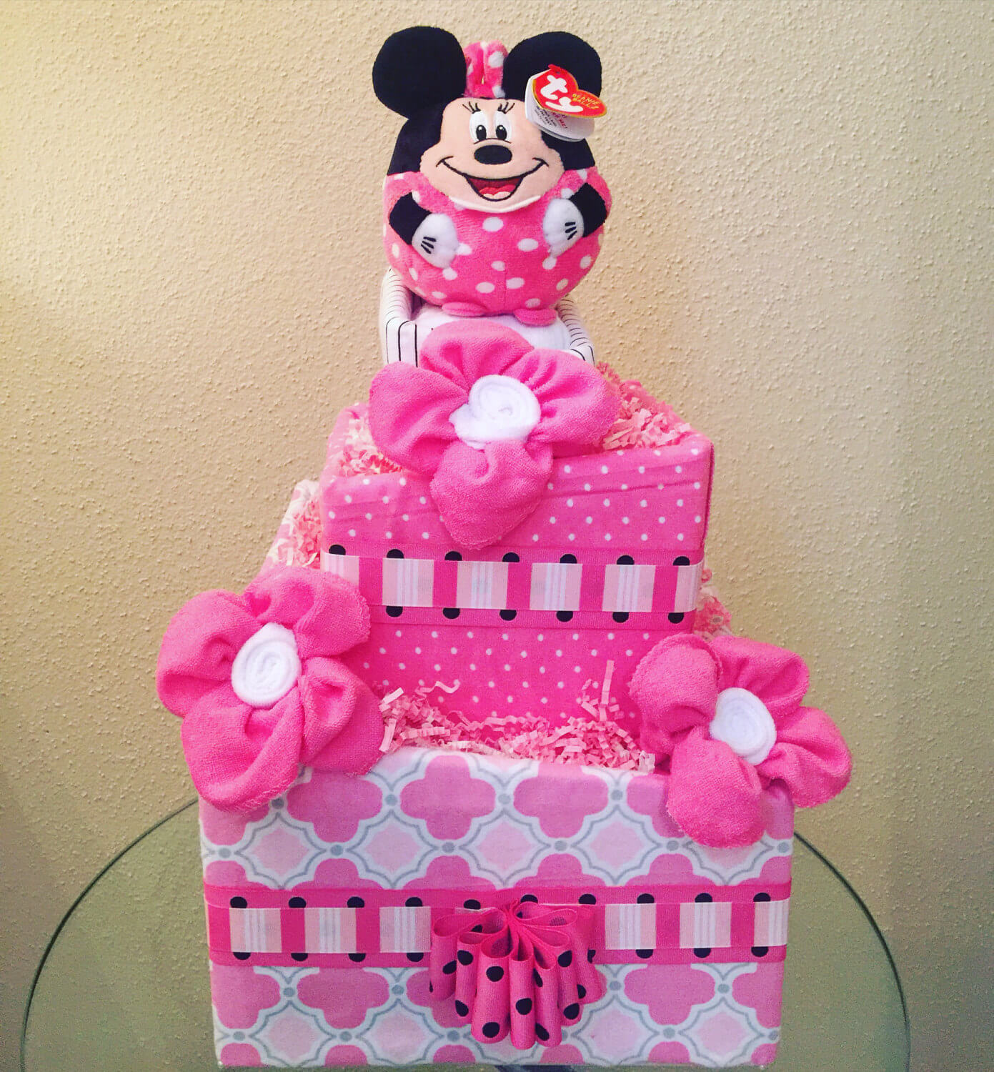 3-Tier Topsy Turvy Baby Girl Minnie Mouse Diaper Cake