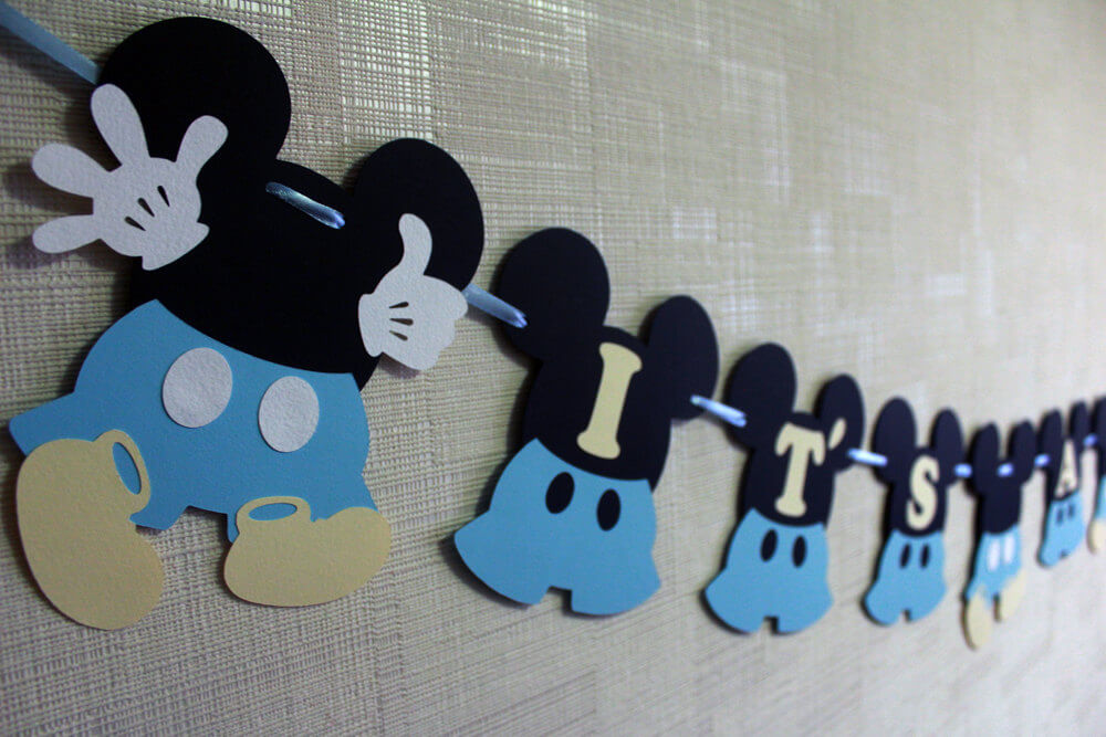 Baby Mickey baby shower boy banner blue It's a boy