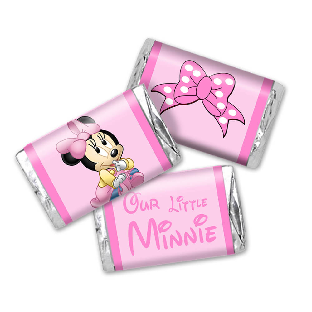 Baby Minnie Mouse Mini Candy Wrappers - Birthday or baby shower party favor