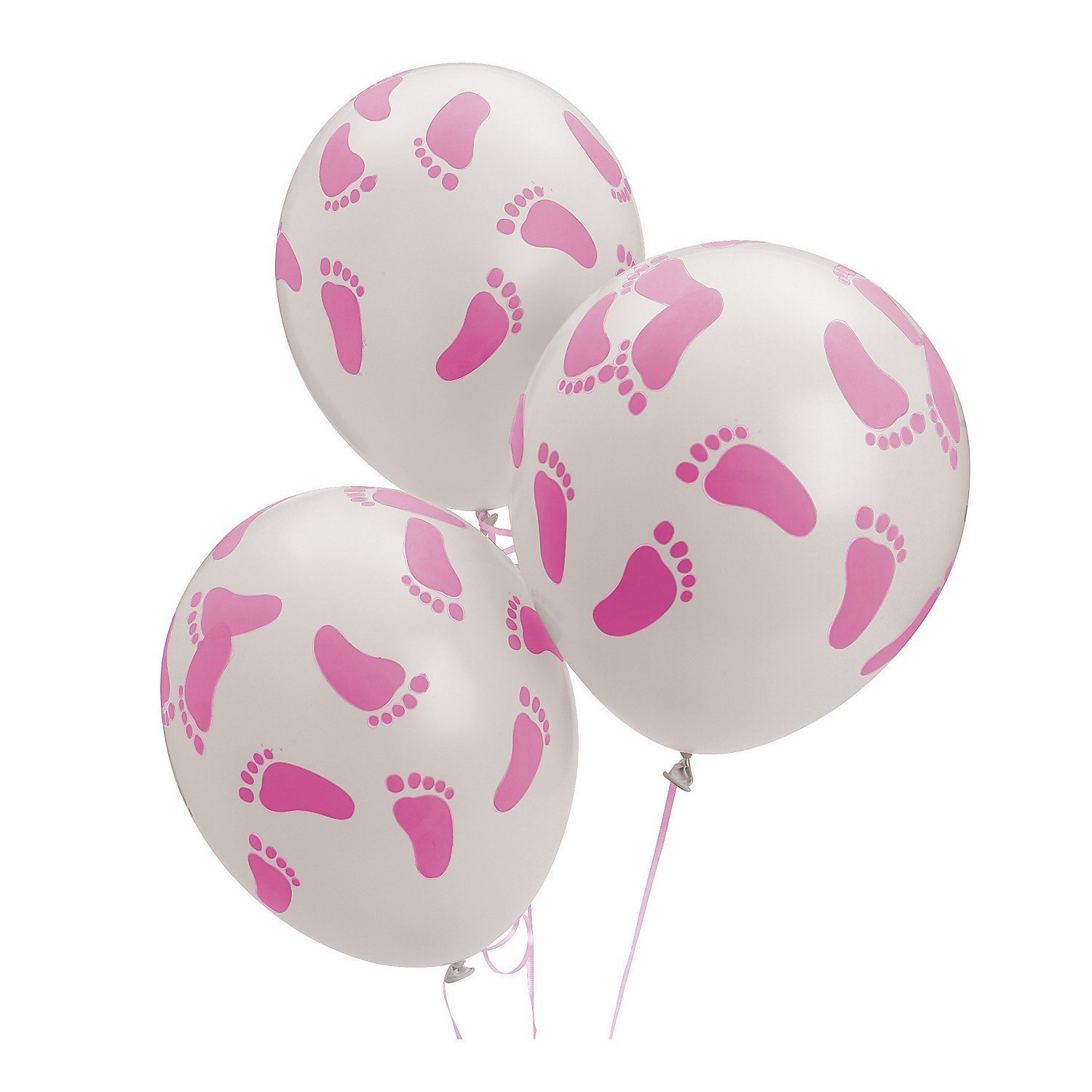 Fun Express Baby Girl Shower Party Pink Footprint Latex Ballons - 24 Pieces