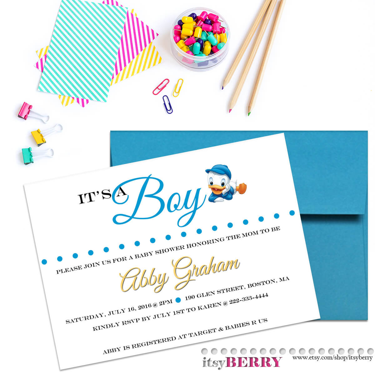 Boy Baby Shower Invitation, Disney Theme Baby Showers, Baby Boy Announcement, Donald Duck