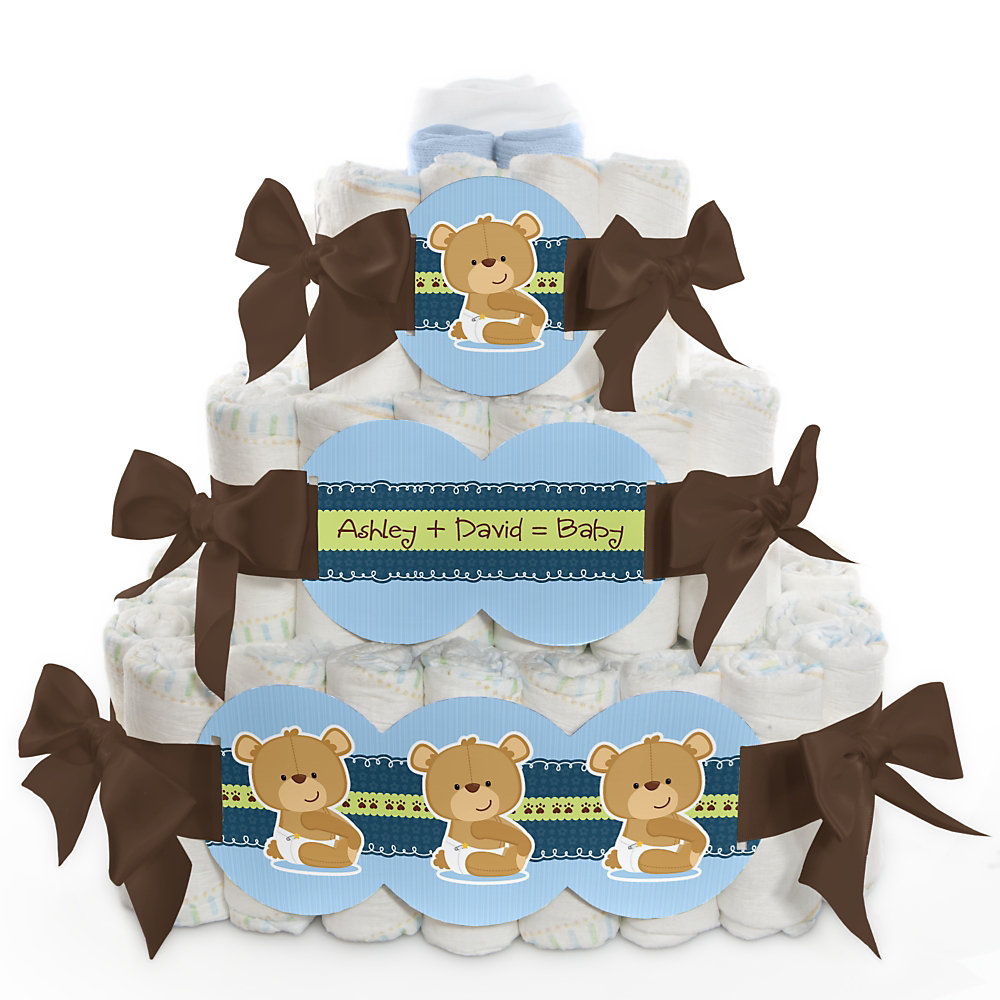 Boy Teddy Bear Baby Shower 3 Tier Diaper