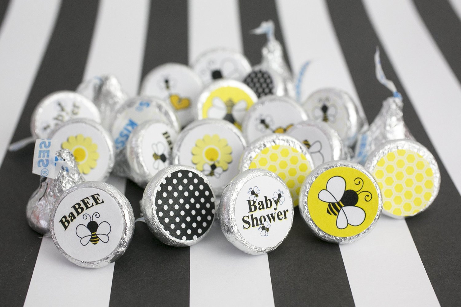 Bumble Bee Baby Shower Favor Decoration Stickers for Hershey Kisses, Envelope Seals, & Miniature Candies