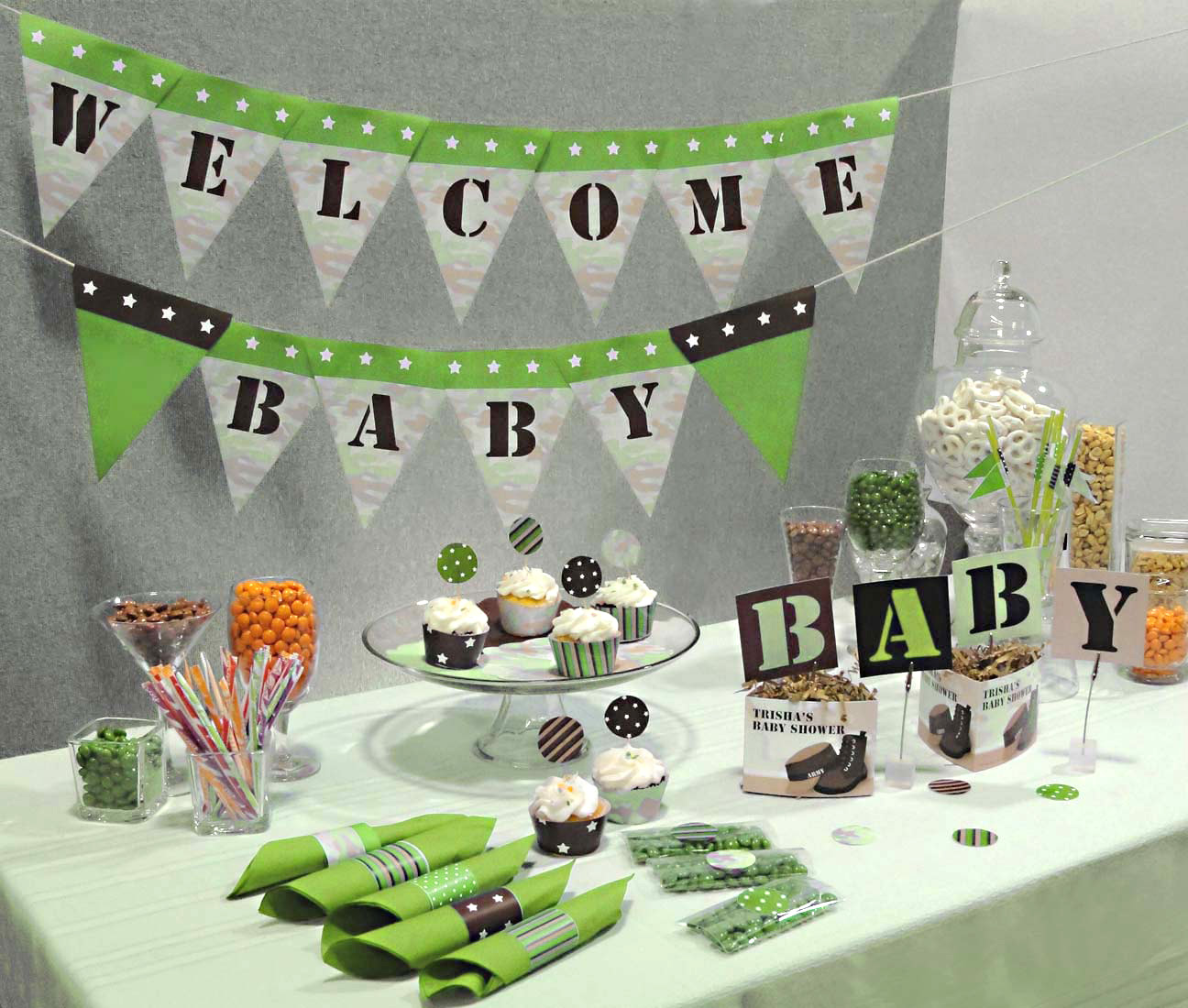 Camouflage baby shower ideas baby ideas for Baby shower at home decorations