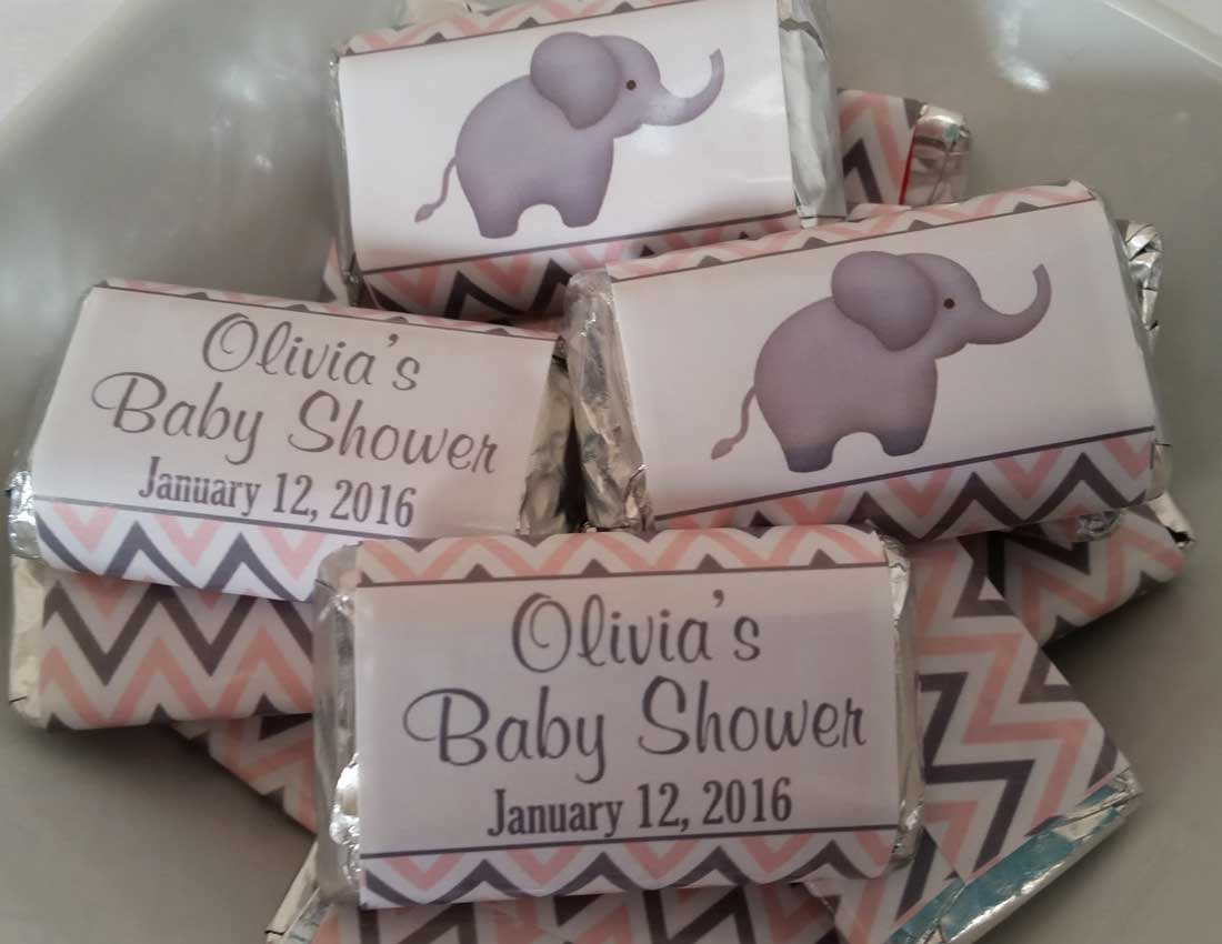 Baby shower favor ideas baby ideas for Personalized chocolate wrappers template