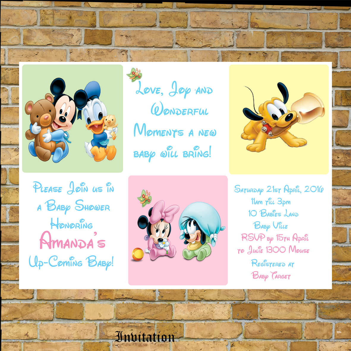 Disney Baby Shower Invitation