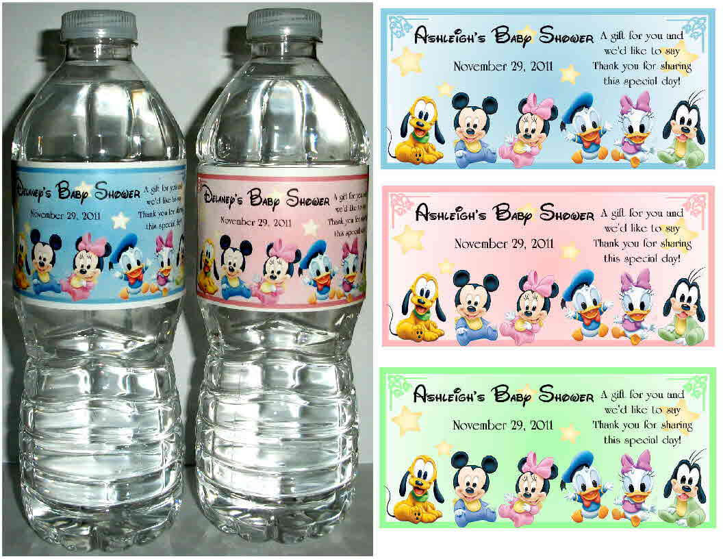 Mickey Minnie Mouse Baby Shower favors water bottle labels