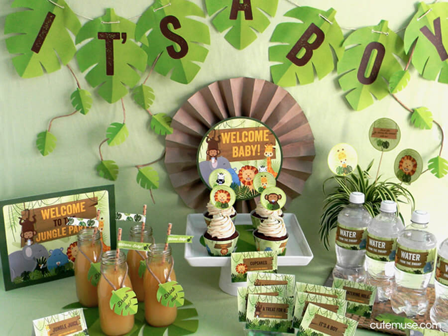 Jungle Safari Theme Baby Shower Printable Party Package Decorations Kit - INSTANT DOWNLOAD
