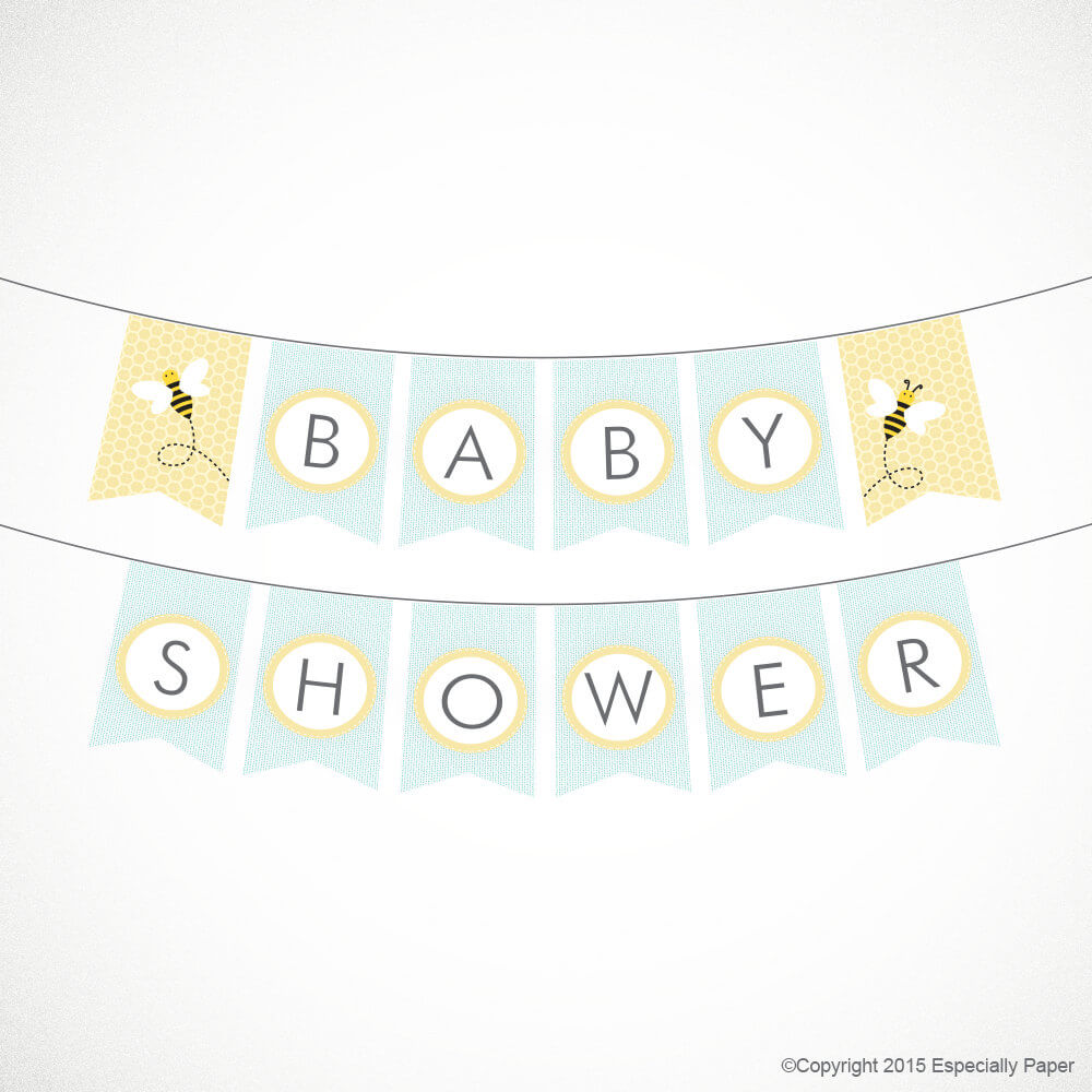 Printable Baby Shower Banner Set, Mommy-to-Bee in Pale Aqua & Yellow, Includes Twins