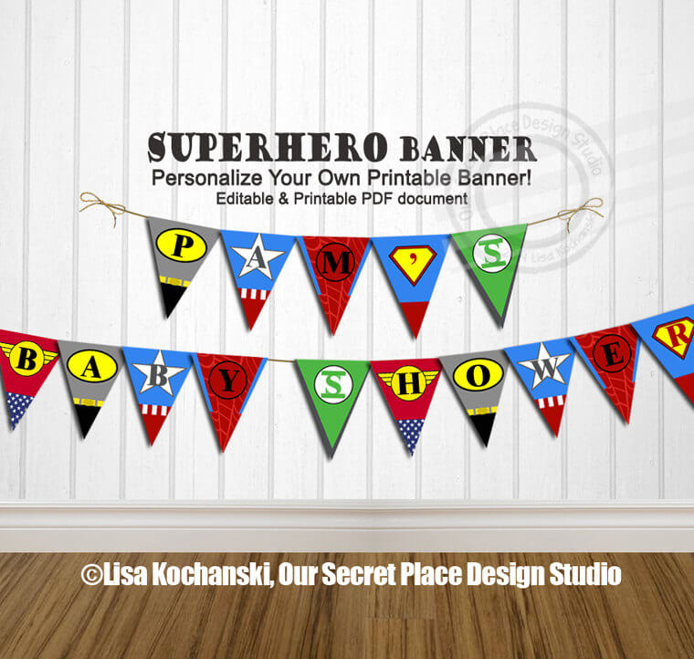 Super hero Baby Shower Banner