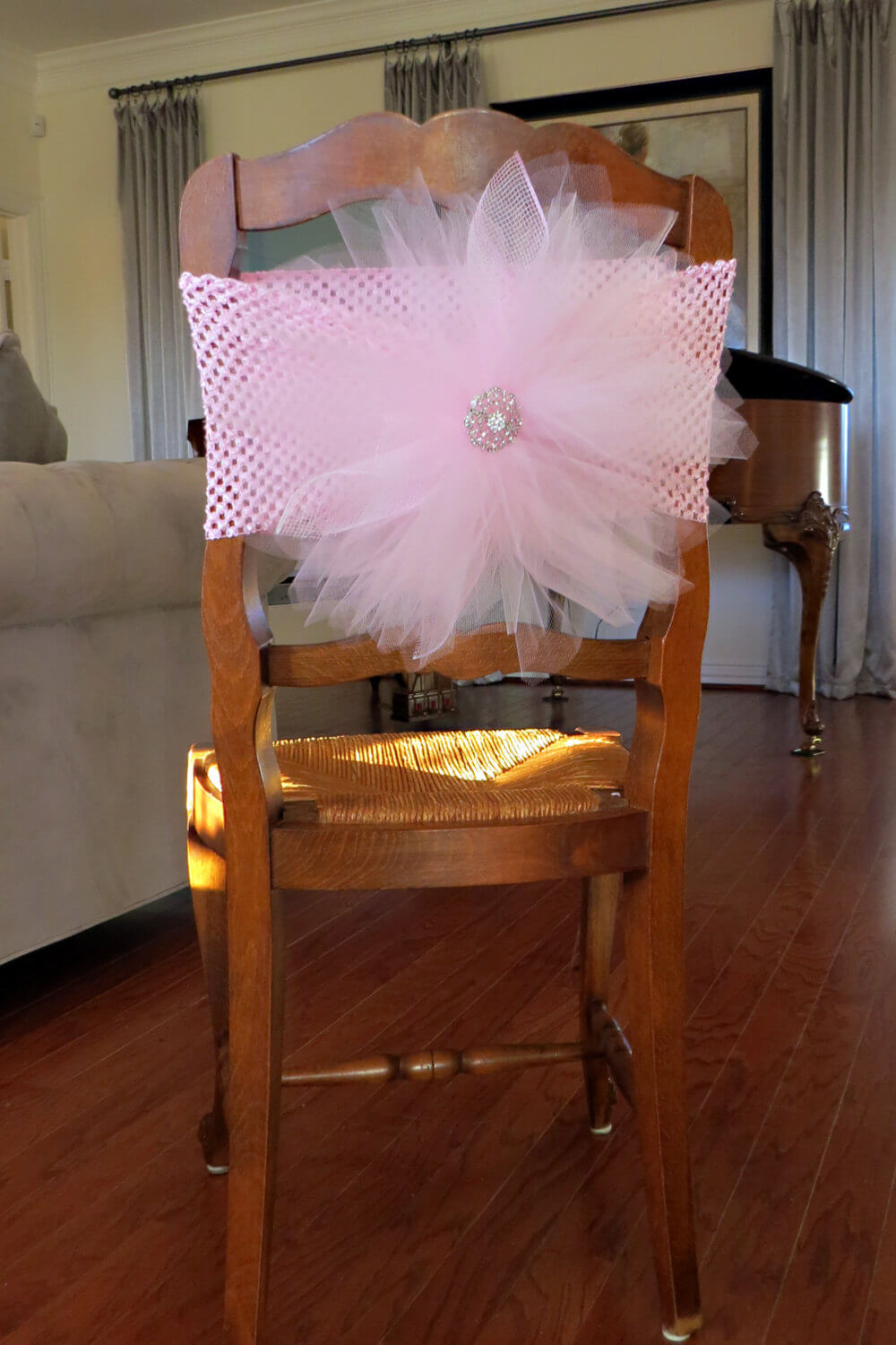 Tulle Chair Cover with crochet elastic band - for bridal shower, baby shower, tutu party, party chair decoration and table decoration