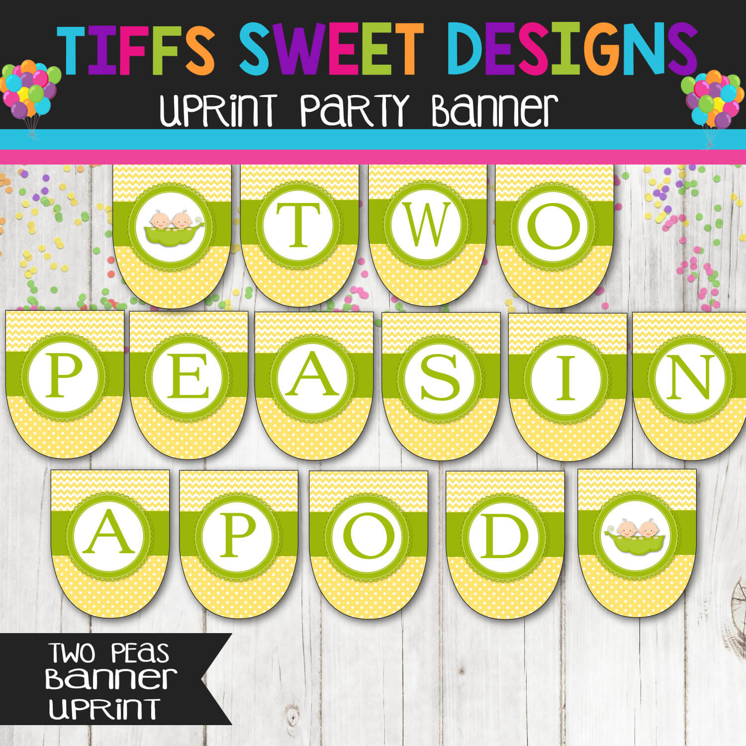 Two Peas In a Pod - Baby Shower Banner - Printable Banner Instant Download
