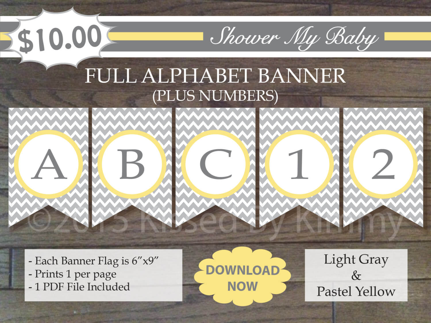 Yellow and Gray Baby Shower - FULL ALPHABET + Numbers Banner -Printable Birthday Banner