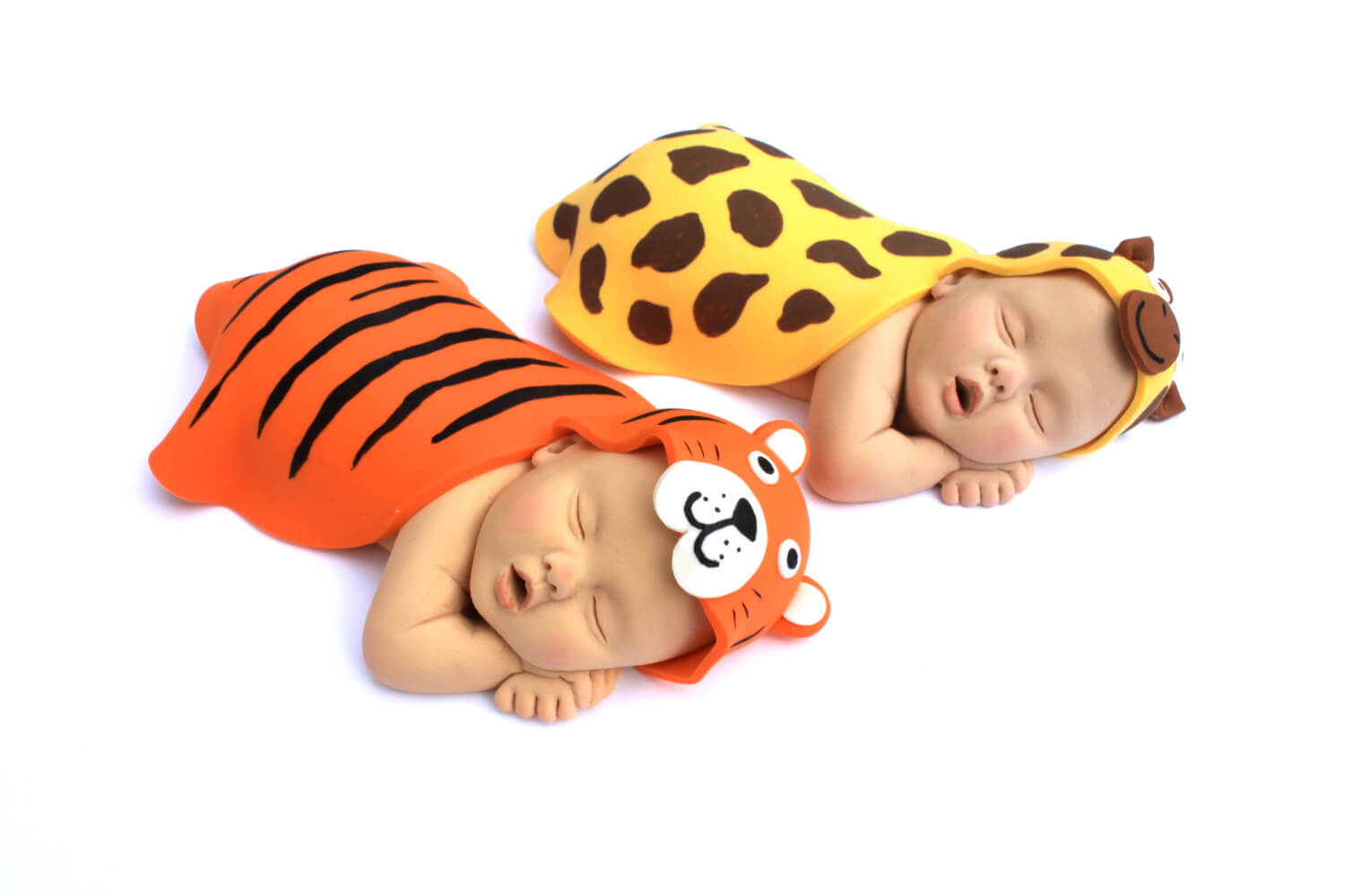 Baby Cake Topper Sugar Paste Twins Orange & Yellow Tiger and Giraffe Animal Blankets for Safari Baby Shower