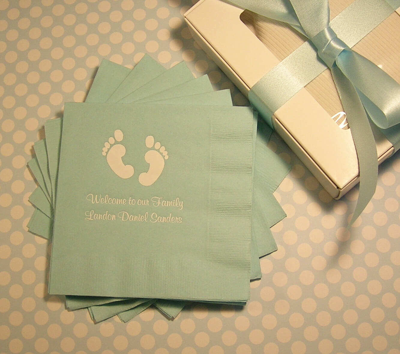Baby shower napkins personalized baby feet shower napkins