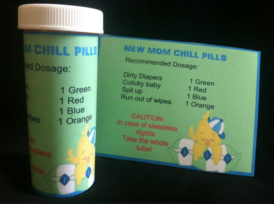 Chill pill, Baby shower labels, personalized baby shower favor, baby shower candy favors, prescription labels