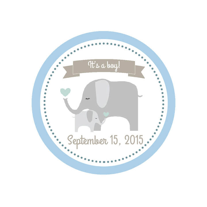 Custom Baby Shower Labels - It's A Boy Shower Label - Mason Jar Labels - Elephant Labels