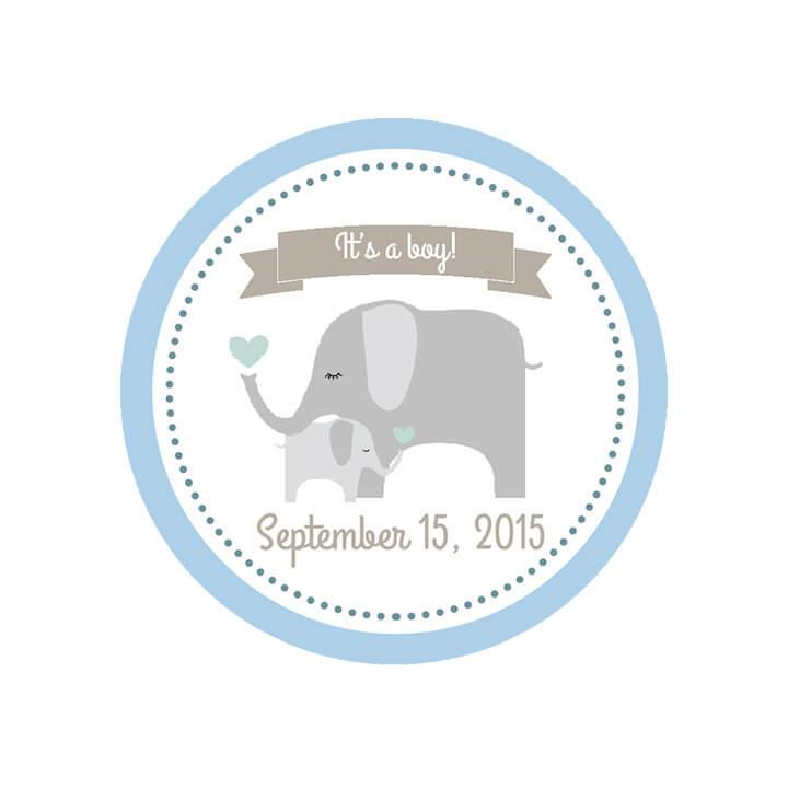 Custom Baby Shower Labels - It's A Boy Shower Label - Mason Jar Labels - Elephant Labels