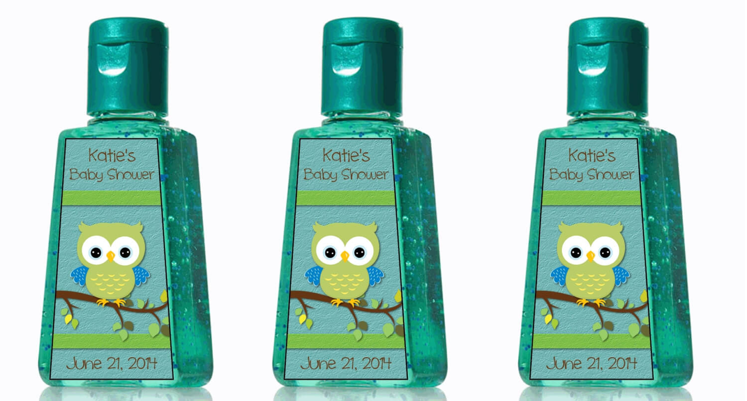Custom Boy Baby Shower Owl Hand Sanitizer Labels   Favors!