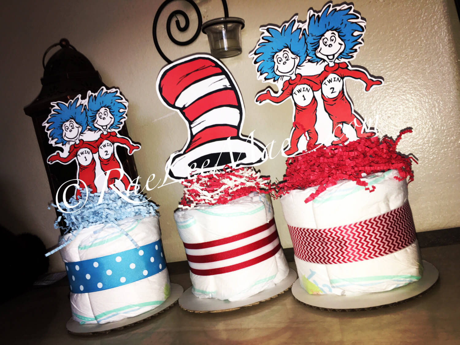 Dr Seuss Thing 1 and Thing 2 Twins Diapercake minisDr Seuss Diapercakes