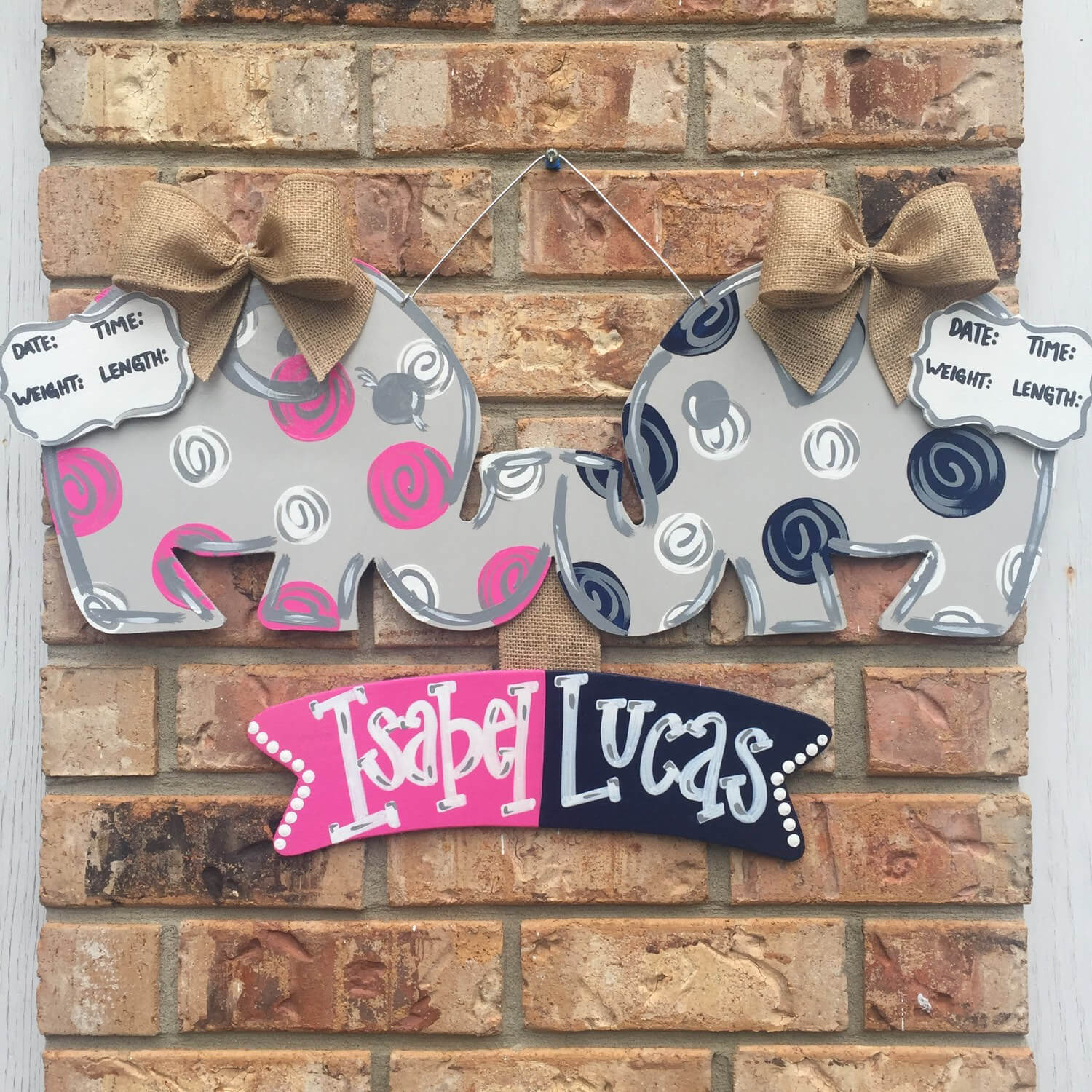 Kissing elephants, twin door hanger
