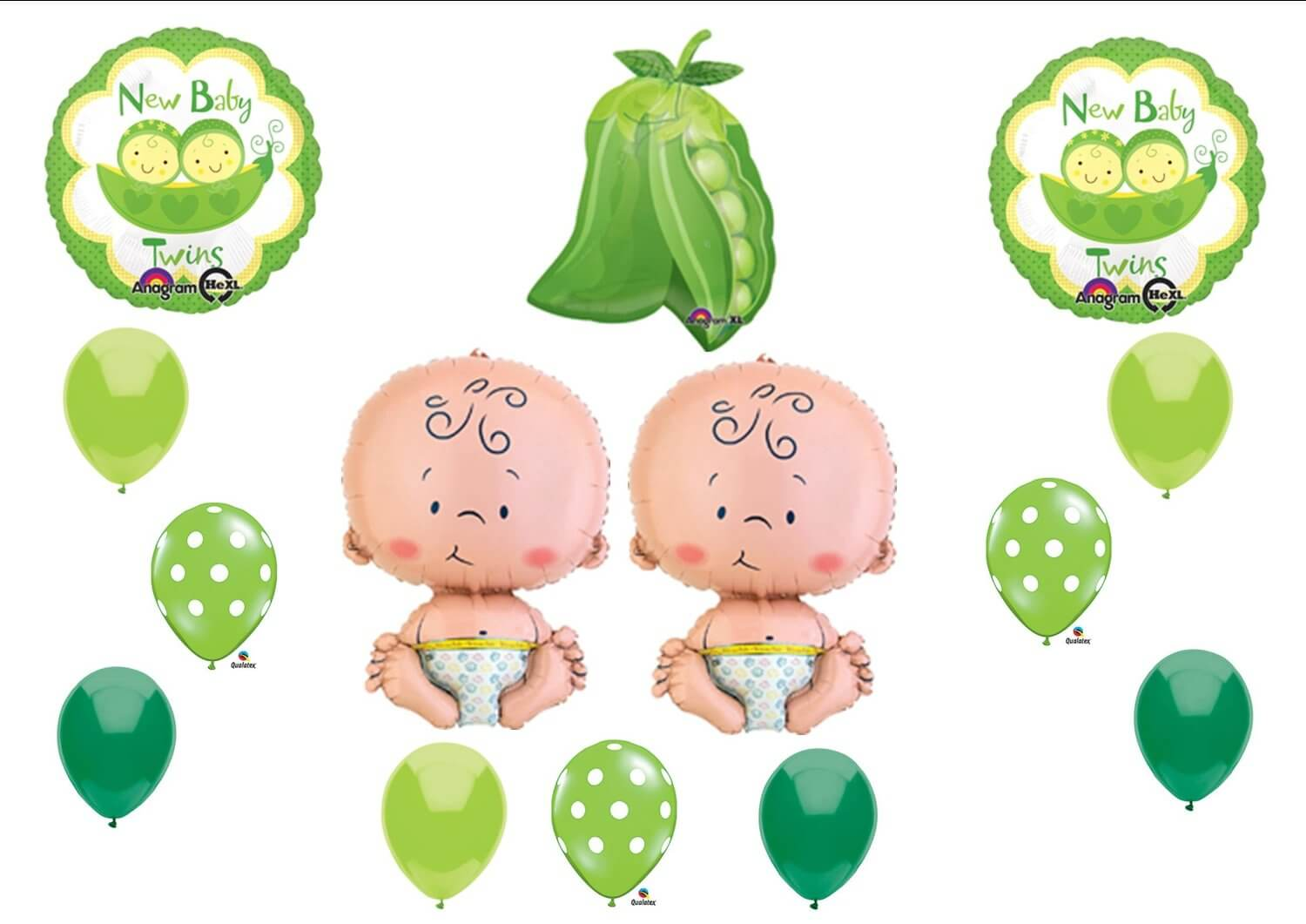 NEW Two Peas in a Pod Twin Baby shower Balloon Decorating Kit Supplies