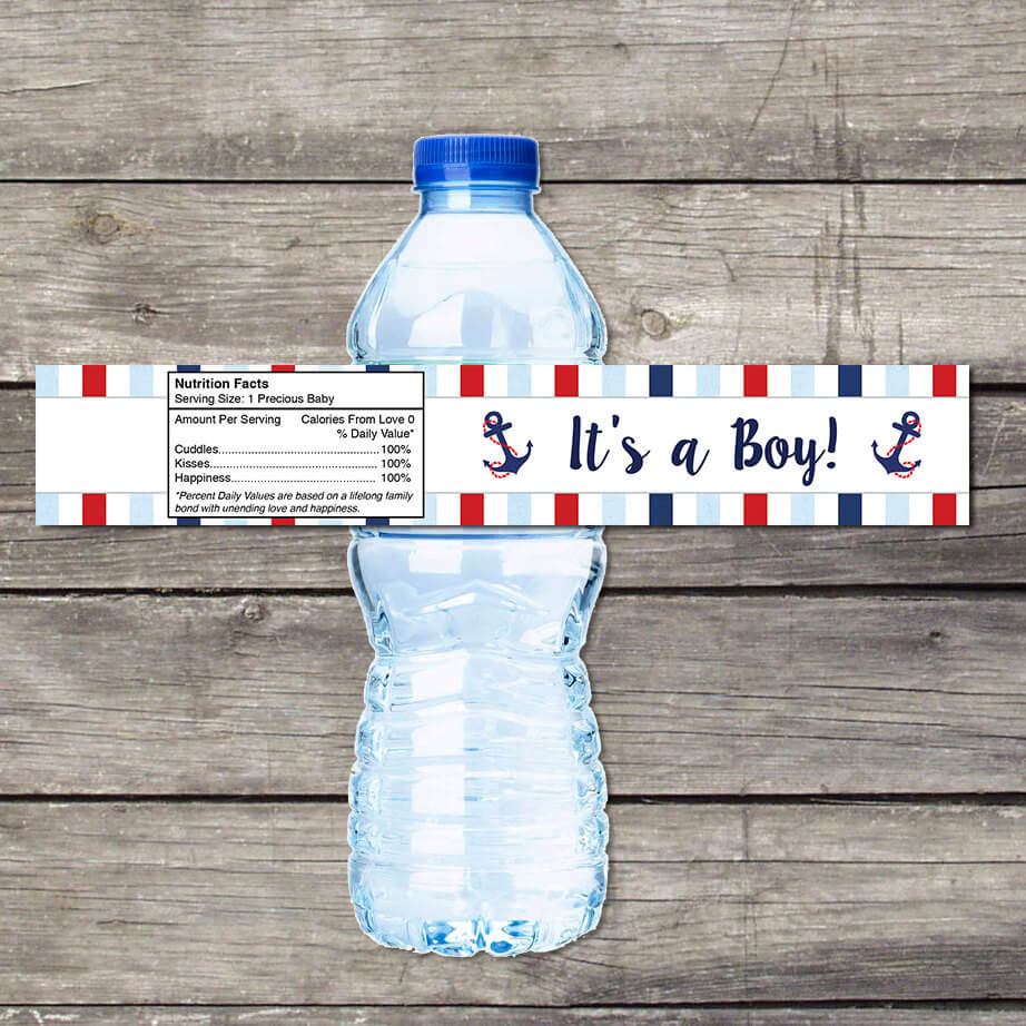Nautical Baby Shower Water Bottle Labels for Baby Shower - Ahoy its a Boy
