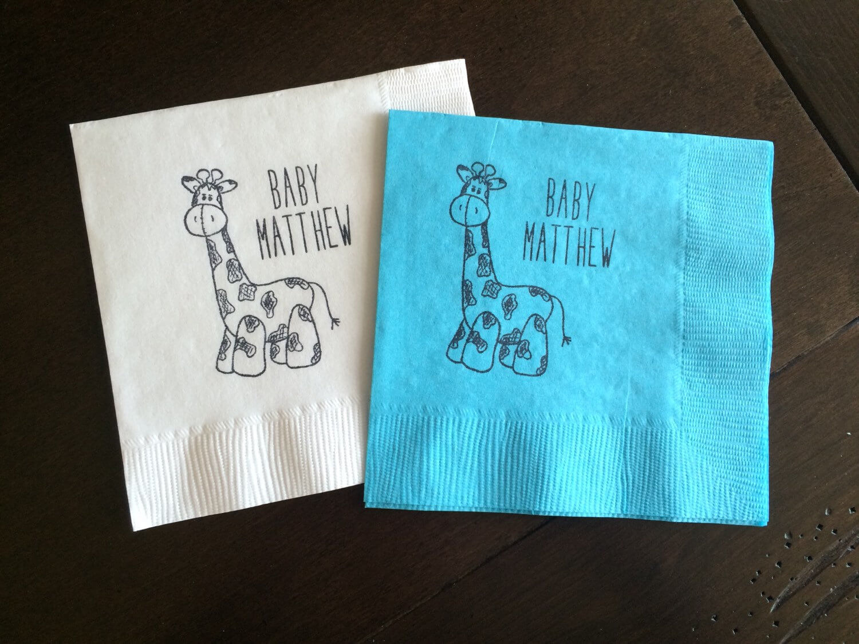 Personalized Giraffe Napkins - Baby Shower Napkins, Giraffe Baby Shower