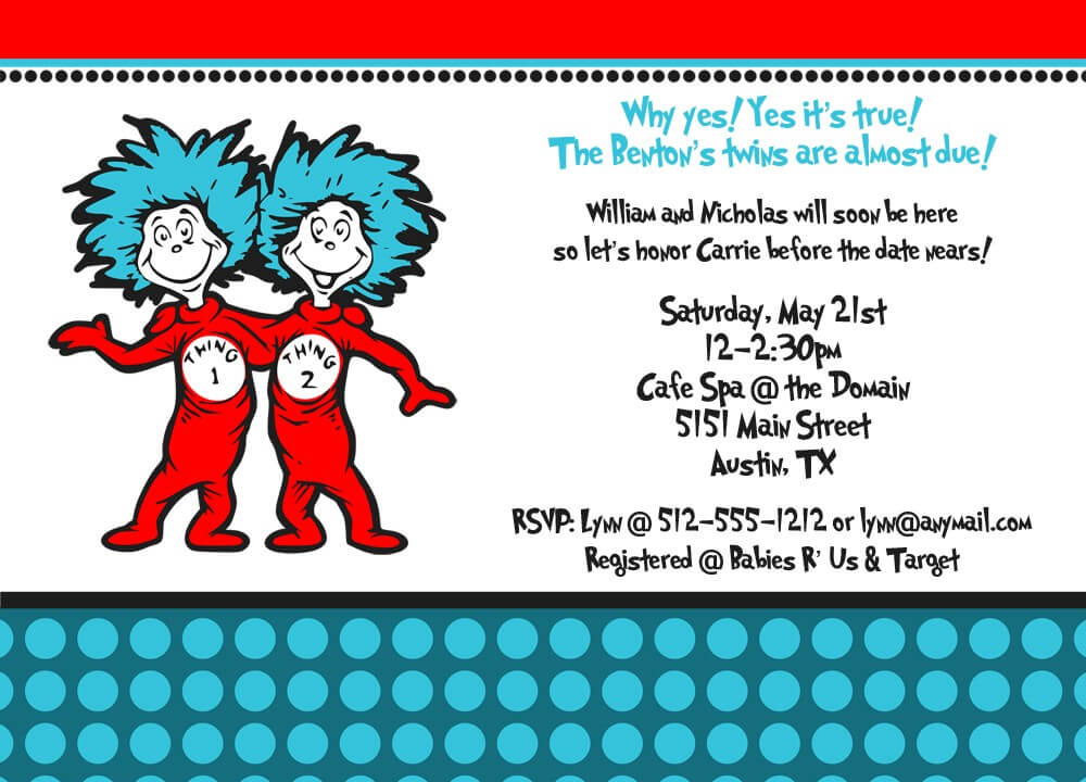 Thing 1 and Thing 2 Baby Shower Invitation