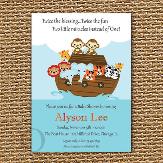 Twin Baby Shower Printable Invitation, Noah's Arch Invite