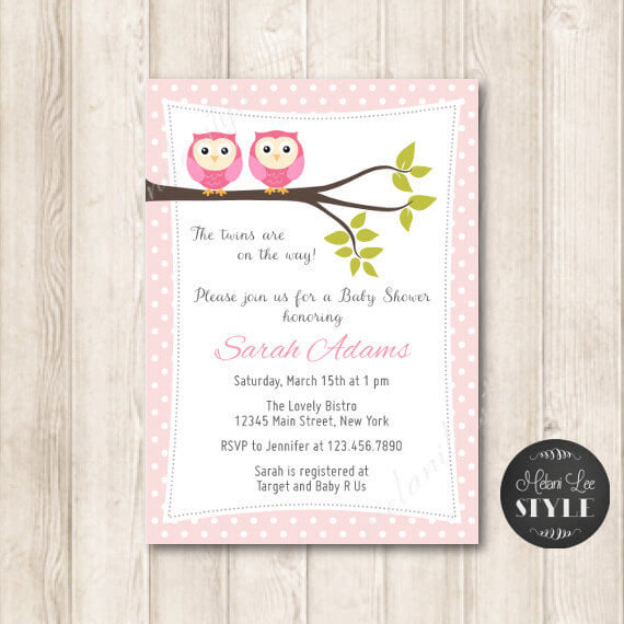 Twin Girls Baby Shower Invitation Owls