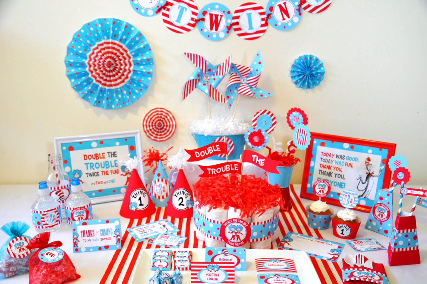 The best themes for a twin baby shower baby ideas twins baby shower dr seuss thing 1 thing 2 inspired non personalized printable party amipublicfo Gallery