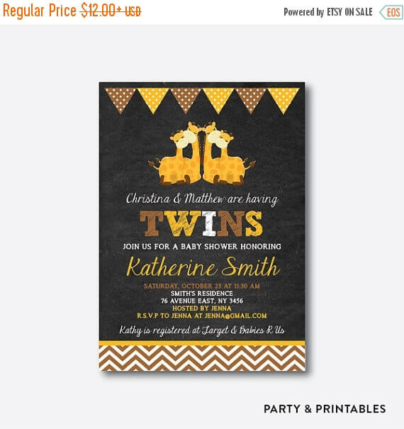 Twins Giraffe Chalkboard Baby Shower Invitation