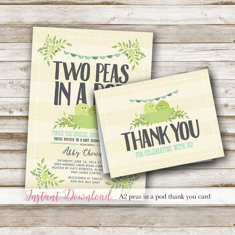 Two Peas In A Pod Baby Shower Matching Thank You Card