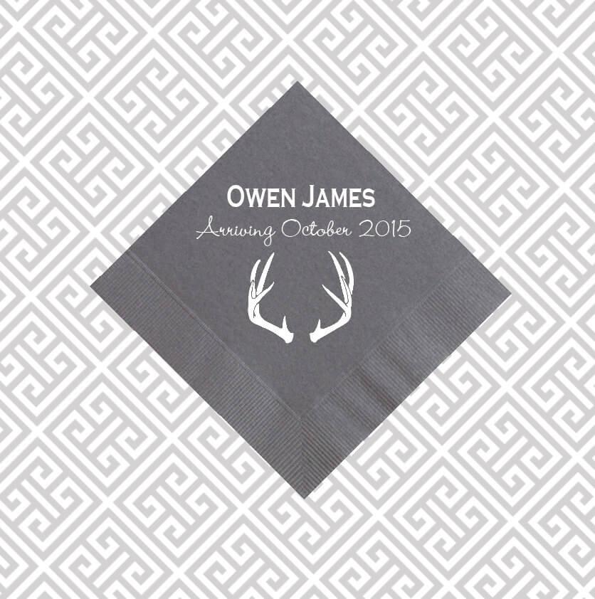 antler napkins, baby shower napkins, rustic napkins, personalized napkins