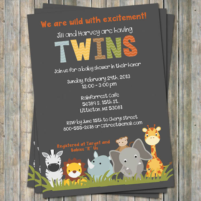 jungle animal baby shower invitations, twin shower