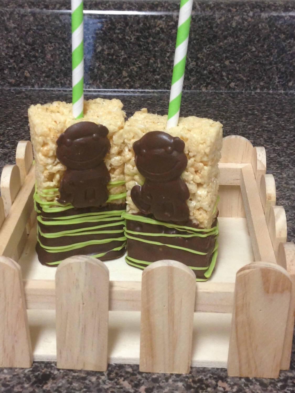 12 Monkey Rice Krispy Treats, Safari Animal Rice Krispy Treats