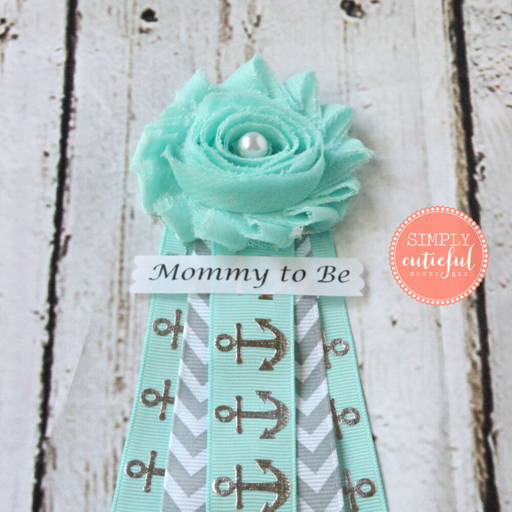 Aqua Silver Gray Nautical Shower Corsage Baby Shower Mommy to Be