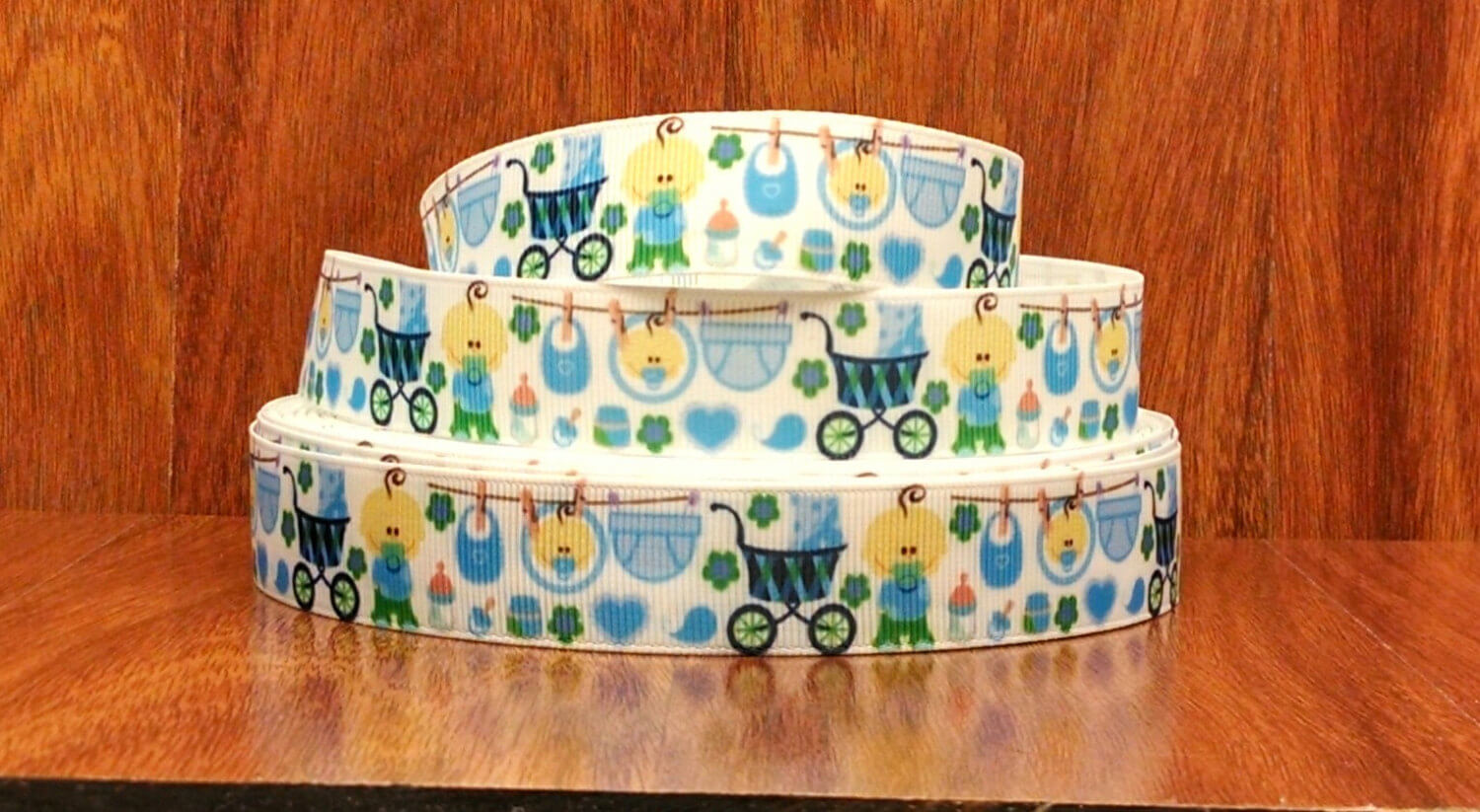 Grosgrain Baby Boy Baby Shower Ribbon 2 yards