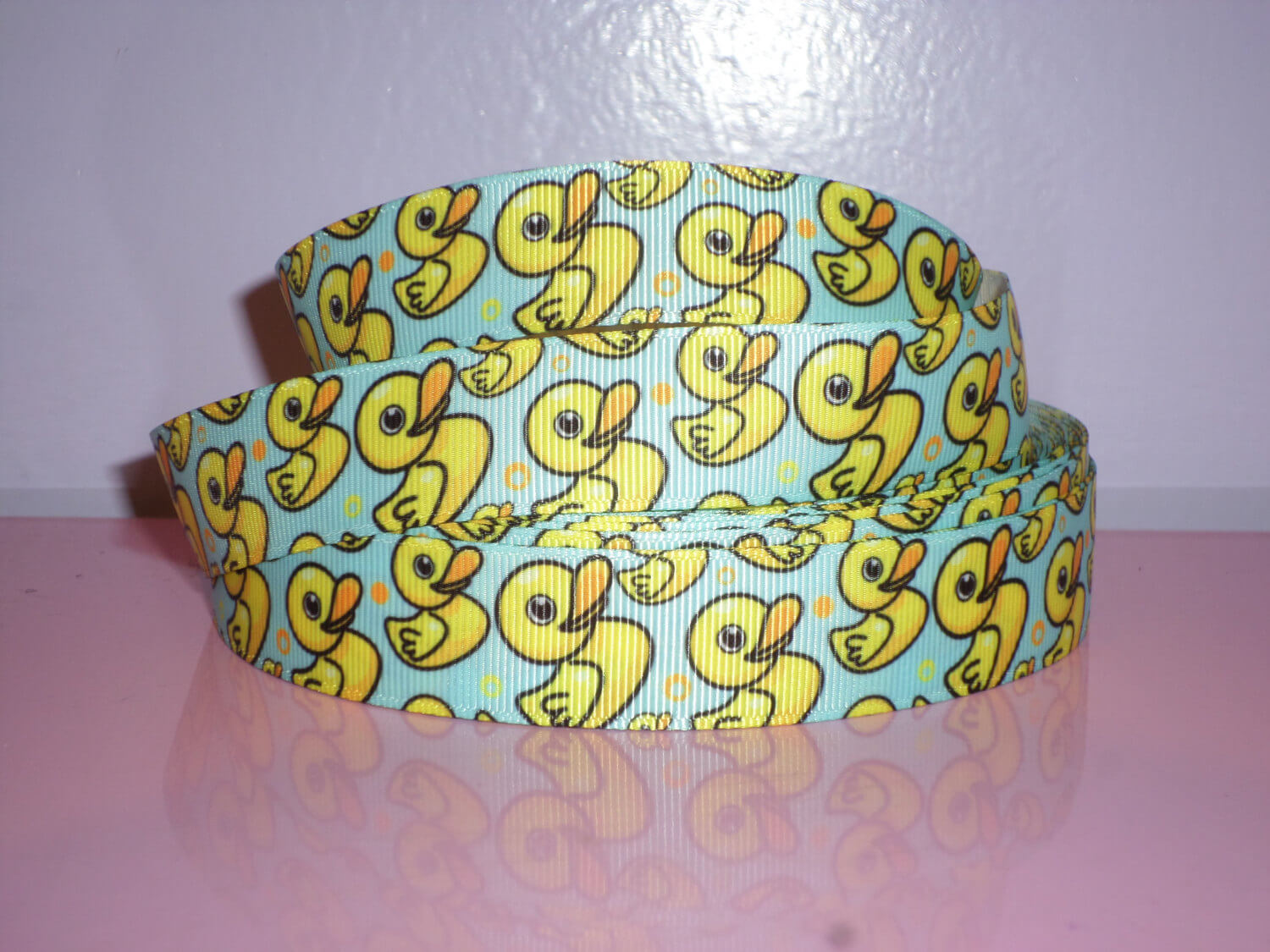 Cartoon rubber duck ribbon baby shower ribbon