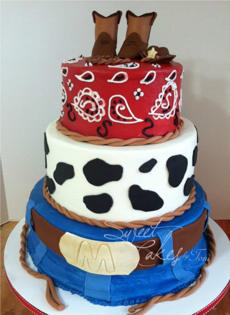 3 Tier Western Baby Shower Cake