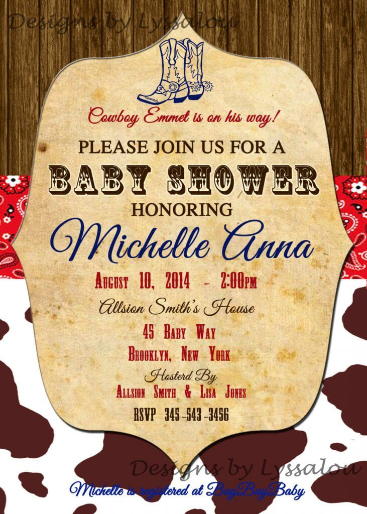 Amazing Cowboy Baby Shower Invitation, Western Baby Shower