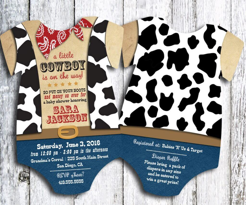 cowboy western baby shower invitation