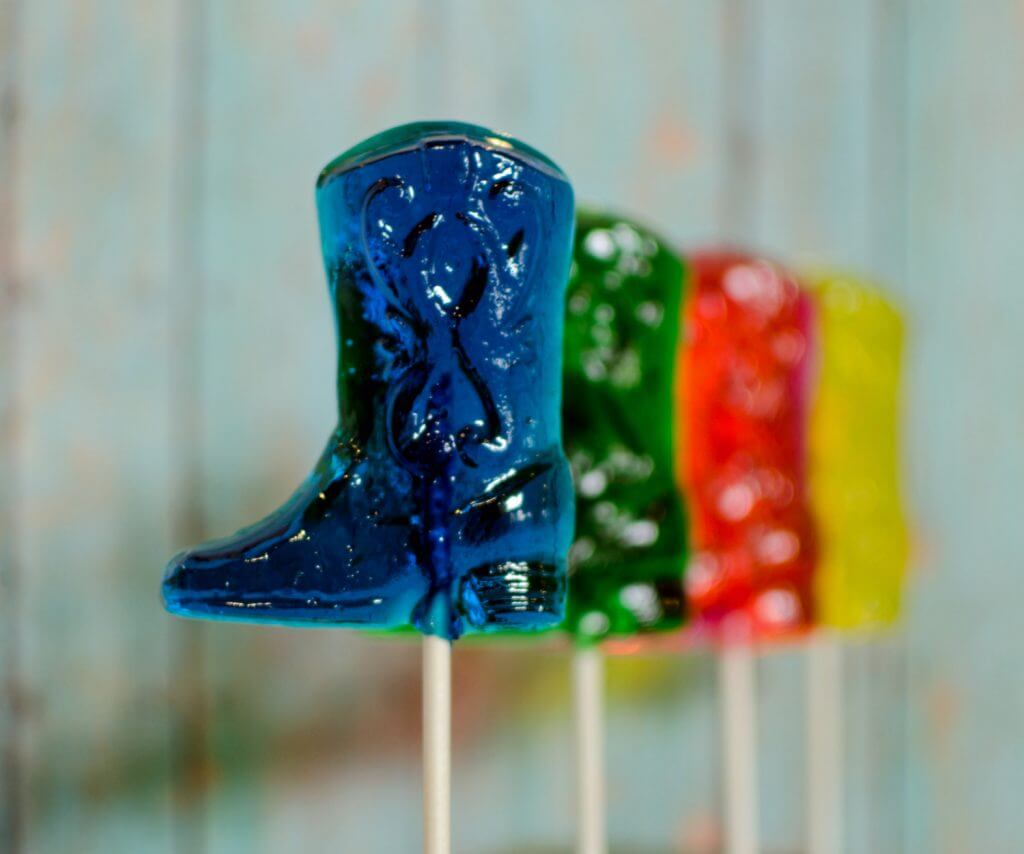 Cowboy boot lollipops