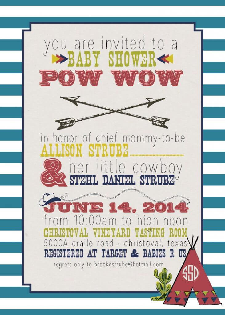 Cowboys & Indians - 5x7 Baby Shower Invitation